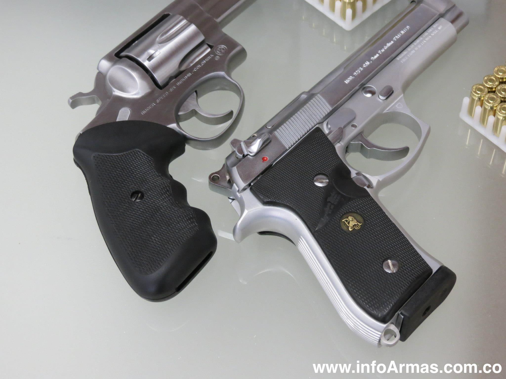 Pistola beretta 92f 9mm y revolver ruger 38l en acero for Pistola para lacar muebles precio