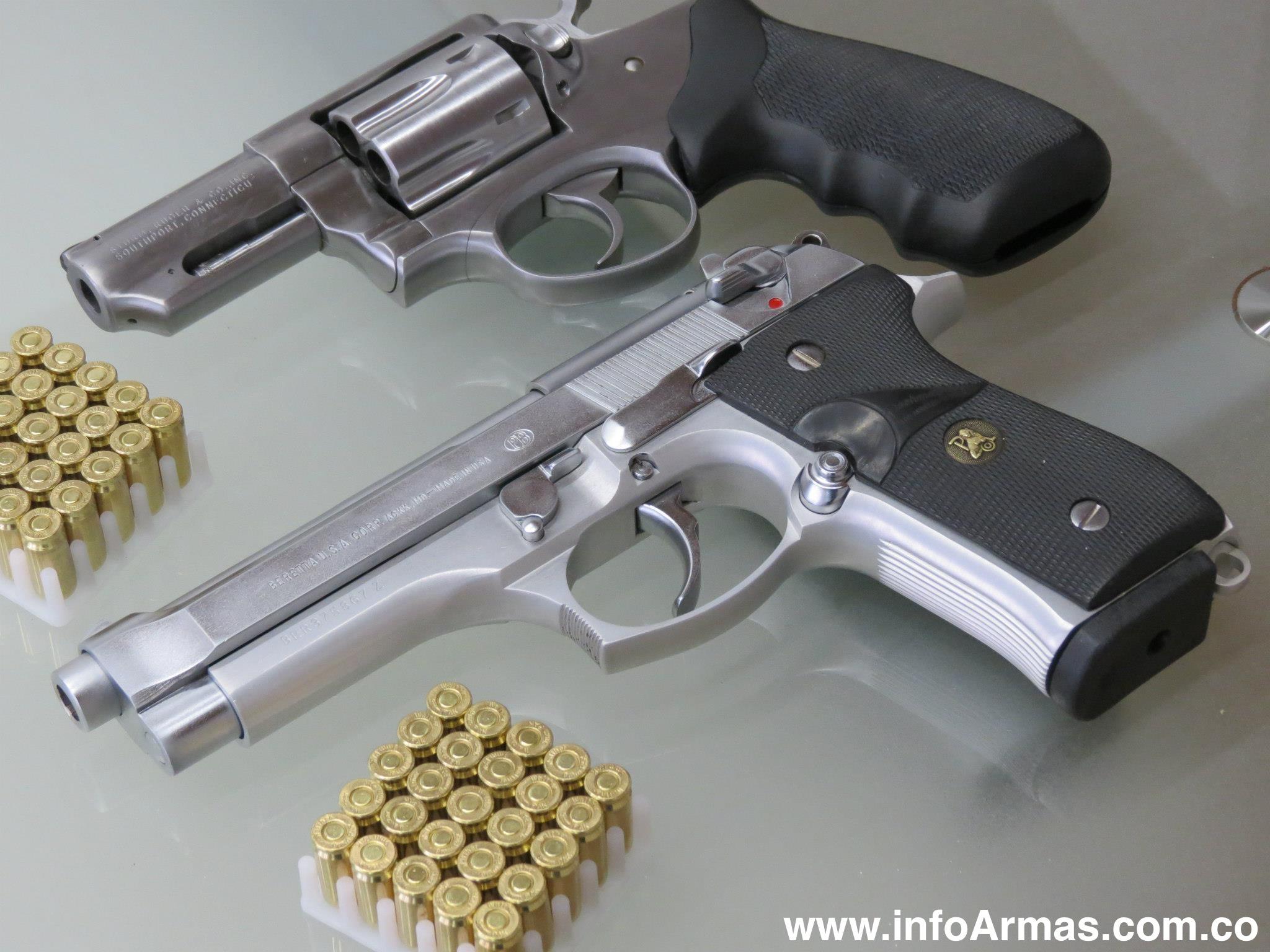 Pistola Beretta 92f 9MM y Revolver Ruger 38L en Acero INOXIDABLE ...